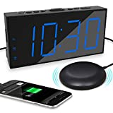 Loud Alarm Clock for Heavy Sleepers, Alarm Clock with Bed Shaker for Hearing Impaired Deaf, Dual Alarm with Snooze, USB...