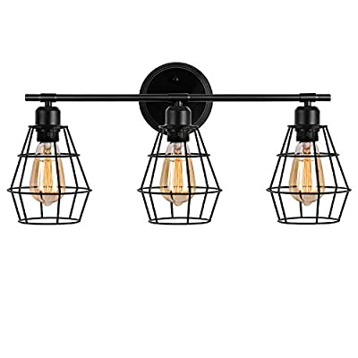 Wire Cage Wall Sconce,Industrial Bathroom Vintage Style Metal Wall Lamp E26 Bulb Base,Rustic Farmhouse Wall Light Fixture for Headboard Bedroom Garage Door Porch