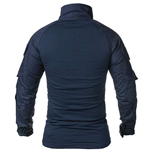ReFire Gear T-shirt à manches longues et courtes pour homme avec fermeture Éclair 1/4 -  Bleu -...