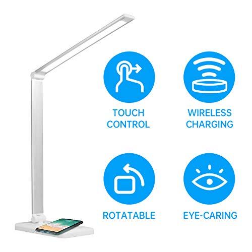 NEWSEE Schreibtischlampe LED Tischleuchte 4 Farb und 3 Helligkeitsstufen dimmbar Memory-Funktion USB-Anschluss für Aufladung des Smartphones Tischlampe Augenschutz Touchfeldbedienung Kinder