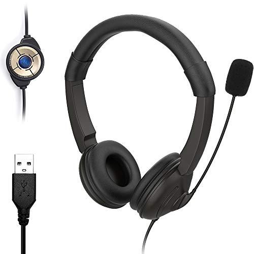 HAL USB PC Headset mit Mikrofon, Noise Cancelling Mikrofon und Lautstärkeregler, Stereo-Sound Laptop kopfhörer für Skype/Call Center/Büro/Telefonkonferenzen/Online-Kurse usw. – Schwarz