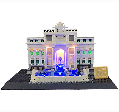 QZPM Kit De Iluminación En (Roma Fontana De Trevi) Bloques De Construcción De Modelos - Kit Luz Led Compatible con Lego 21020 (No Incluido El Modelo)
