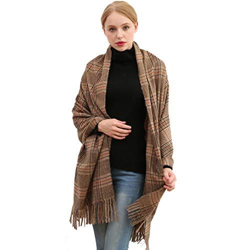 Longwu Bufanda de lana de cachemira suave para mujer Manta y envoltura de pashmina grande Manta de estola cálida 01#
