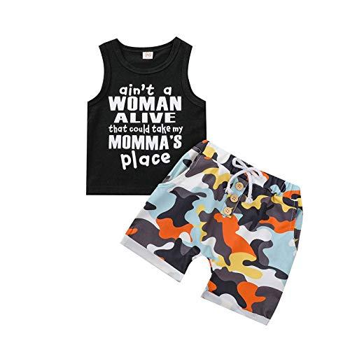 YWLINK Camiseta Sin Mangas Con Chaleco Con Letras Para NiñOs + Pantalones Cortos Con Estampado De Camuflaje Traje De Dos Piezas Traje De Moda Casual Regalo Del DíA Del NiñO