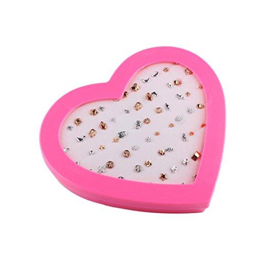 F Fityle 36 Pares / Set Pendientes De Perlas con Muchos Accesorios De Oreja De Planta Animal Joyas