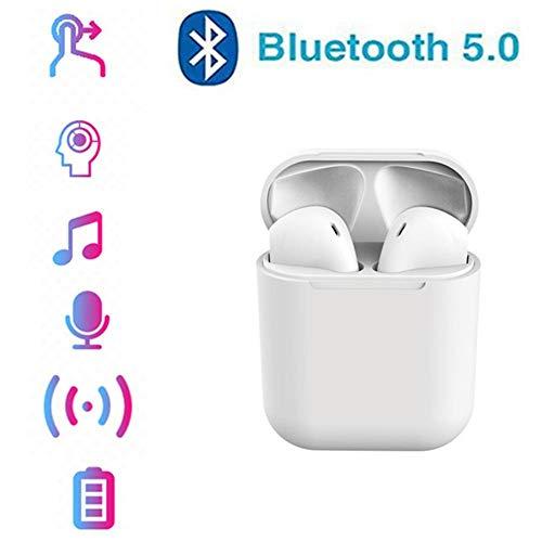 LZ Auriculares Bluetooth 5.0 Auriculares Inalámbricos Sonido Estéreo In-Ear Sport Auricular con Mic para iPhone Android y PC,Blanco
