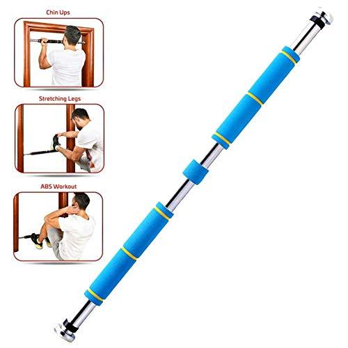 Kyman Klimmzugstange for Türrahmen, Beständig 160 Kg Pull-Tür Tür horizontale Balken Stahl Einstellbare Home Gym Workout Push-Pull-Trainings Sport (Color : Blue, Size : 62cm)