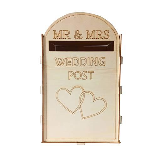 Amosfun Hochzeit Briefbox Briefkasten Holzbox Spardose abnehmbar Hochzeit Kartenbox Tischdeko mit Schlüssel