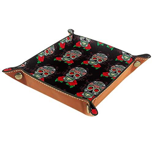 Plato de almacenamiento de escritorio con diseño de calavera de azúcar para hombres y monedero