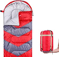 Abco Tech Sleeping Bag – Envelope Lightweight Portable, Waterproof, Comfort with Compression Sack - Great for 4 Season Traveling, Camping, Hiking, Outdoor Activities and Boys. (Single) (Red)