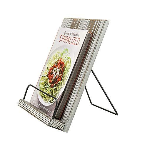 Support pour livre de cuisine en bois avec texte gris