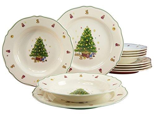 Creatable 16183 4 - Servizio di Piatti da 12 Pezzi, Motivo: Albero di Natale, Porcellana Premium