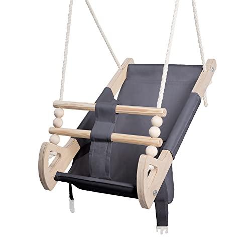 Stoffschaukel Kinder für Kinder mit Sitzgurt | Kleinkindschaukel für Draußen aus Holz und Baumwolle | Baby Hängeschaukel modernes Design | 100{a916d2e57349b3c0929701724bc17e2601328a4c857e62235b1316149d823bd8} ECO | Made in EU