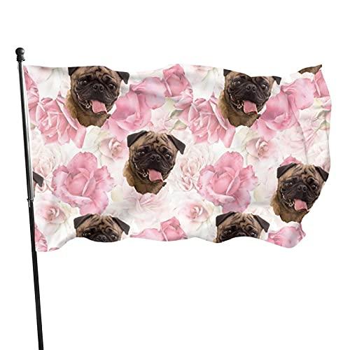 Bandera de Patio de jardín Tela de Barro Amasado con Rosas Bandera de Interior al Aire Libre Resistente a la decoloración UV Bandera Casa Decoración de jardín 90 x 150 cm