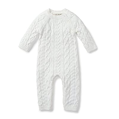 Hope & Henry Layette Soft White Cable Knit Sweater Romper