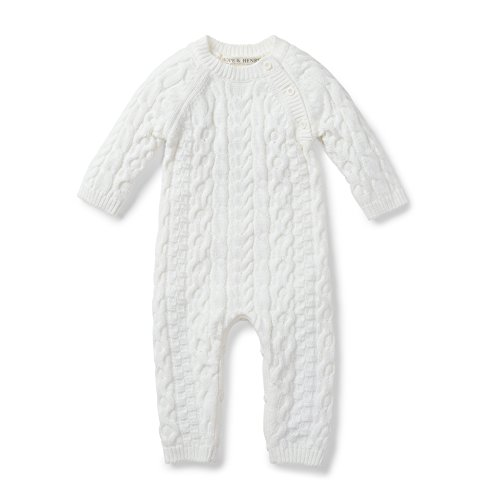 Hope amp Henry Layette Soft White Cable Knit Sweater Romper