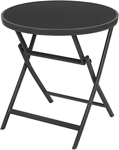 Brubaker Beistelltisch oder Esstisch Milano - Glastisch rund klappbar als Gartentisch - 70 cm Ø - Aluminium - Wetterfest - Anthrazit