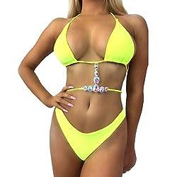 Yellow-2 String Bikini Set Bohemian Crochet Swimwear