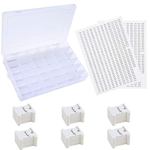 Peirich Stickgarn Organizer Box - 36 Fächer mit 120 Hartseiden-Spulen und 2 Stück 459 Farbnummer Aufkleber