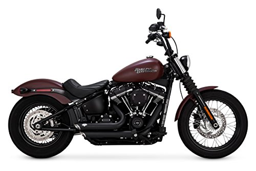 Vance & Hines Black Shortshots Staggered for 2018-Newer Softail Street Bob, Low Rider, Slim, Deluxe, Heritage, Fat Bob