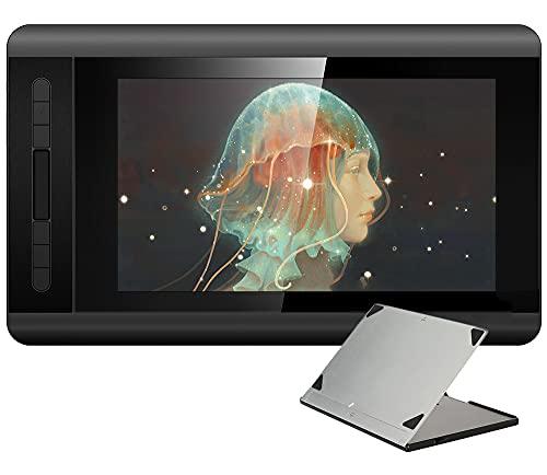 Tableta Gráfica con Soporte Ajustable, Tableta De Dibujo Monitor De Dibujo 1920 X 1080 HD IPS con Teclas De Acceso Directo Y Panel Táctil