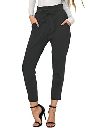 BerryGo Women's Casual Loose High Waist Stretchy Skinny Slim Long Pants (Black,M) 2' Leather Work Belt