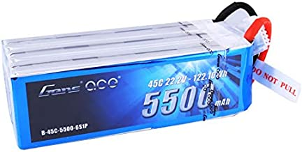 Gens Ace 6S 5500mAh 22.2V 45C 6S1P Lipo Battery Pack with Deans Plug End