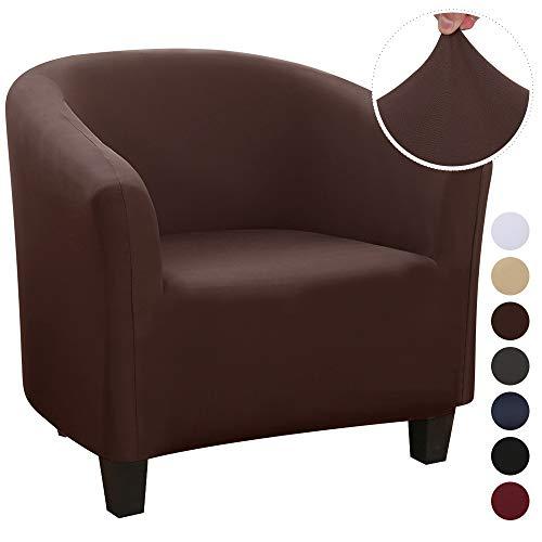 ChicSoleil Sesselschoner Sesselüberwurf Sesselhusse Sesselbezug Jacquard Elastisch Stretch Sofahusse Husse für Clubsessel Loungesessel Cocktailsessel (Braun, Milchseide)