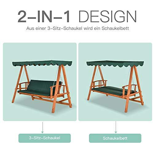 Outsunny® Hollywoodschaukel mit Sonnendach Echtholz-Gartenschaukel Schaukelbank Schaukel mit Liege-Funktion aus Lärchenholz für 3-4 Personen - 3