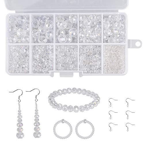 Perline Cristallo Sfaccettato 900+ Pezzi Creazione di Gioielli Fai da Te Perline di Vetro Kit con Filo di Trasparente Elastico per Creazione di Gioielli (2, 4, 6, 8, 10mm)