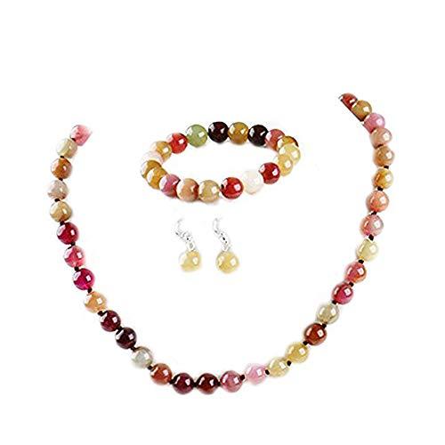 TreasureBay - Parure di gioielli composta da orecchini, bracciale e collana, con perle in pietra di giada da 10 mm in 3 colori differenti, con confezione regalo