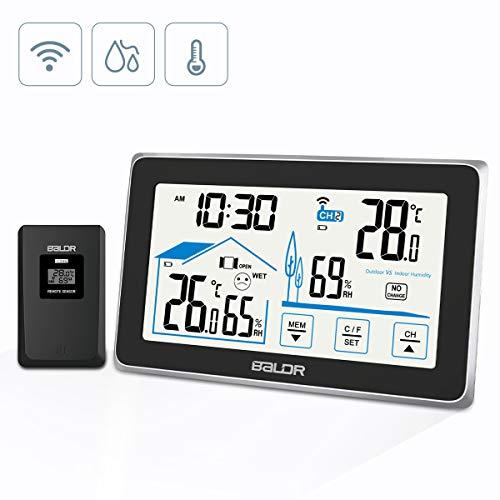 BACKTURE Termometro Igrometro Digitale, Stazione Meteorologica con Wireless Sensore, Termoigrometro Digitale con...