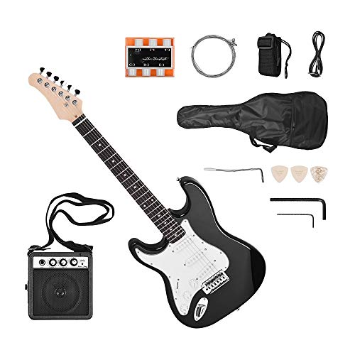 ZGHNAK E-Gitarre Linkshänder 21 Bünde 6 Saiten Paulownia Korpus Ahorn Hals Massivholz mit Lautsprecher Pitch Pipe Bag Linkshänder
