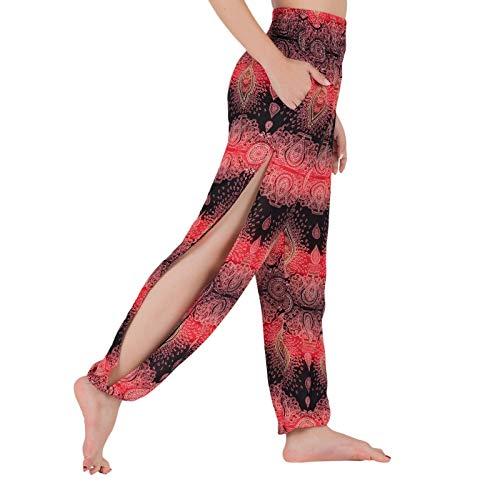 Lofbaz Harem Pantalones de yoga para correr, con abertura media, para mujer, para playa, para mujer Oval Black & Red L