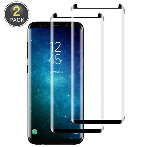 Wiestoung Protector Pantalla para Samsung Galaxy S8,Cobertura Toda Pantalla Cristal Templado Galaxy S8, Alta Definicion, 9H Dureza, Vidrio Templado, Sin Burbujas,Anti-Arañazos- 2-Unidades