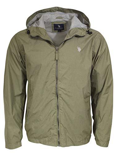 U.S. Polo Assn. Men's Windbreaker Jacket, Army Green Heather, L