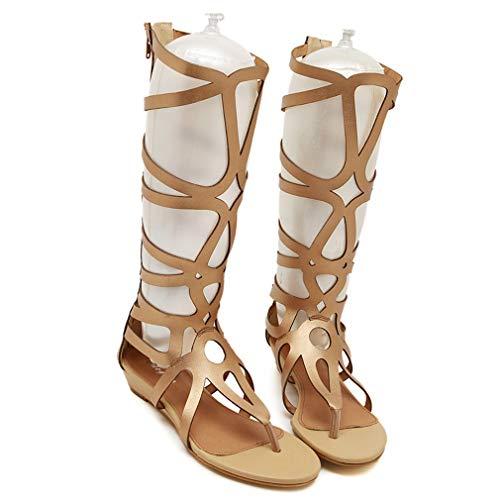 KXDN Sandalias De Gladiador hasta La Rodilla para Mujer, Zapatos De Playa De Moda con Punta Abierta Y Elásticos De Cuero Artificial con Cremallera En La Espalda Sandalias Planas Informales,Oro,36