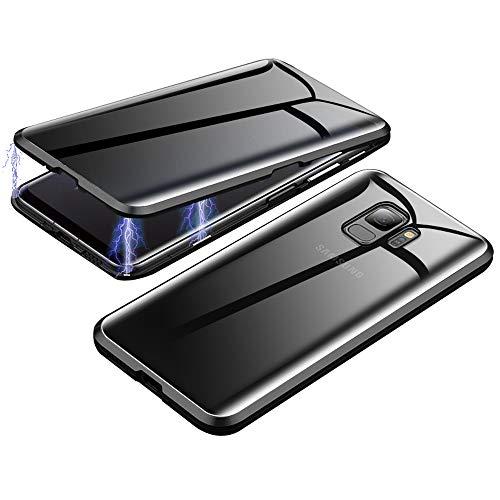 Jonwelsy Anti-Spy Funda para Samsung Galaxy S9, 360 Grados Proteccion Case, Privacidad Vidrio Templado Anti espía Cover, Adsorción Magnética Metal Bumper Cubierta para Samsung Galaxy S9 (Negro)