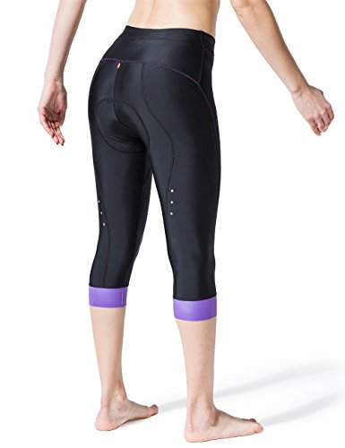 Souke Sports Damen 3/4 Radlerhose 4D gepolstert Atmungsaktiv Quick-Dry Fahradhose Damen Gepolstert 3/4 Radsport Hose - 4