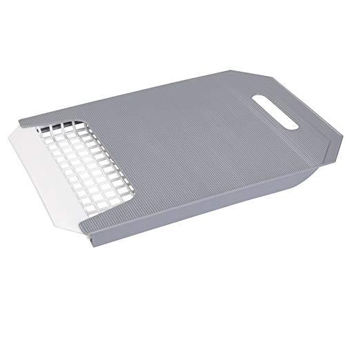 Schneidbrett ausziehbar passend über die Spüle 40-55 cm mit einem Sieb • Schneidebrett Kunststoff Brett Küchenbrett