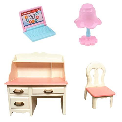 Dollhouse Furniture Desk and Chair Set Accessories Dresser Back-rest Chair Laptop Desk Lamp Pencil Sharpener Eraser Stationery for Dollhouse Action Figures
