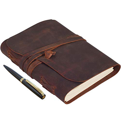 Elizo Lined Leather Journal Refillable - Brown Leather Journal With Blank Pages - Small Leather Notebook - Leather Journal for Men and Women - Leather Bound Journal For Writing - 5x7, Chestnut
