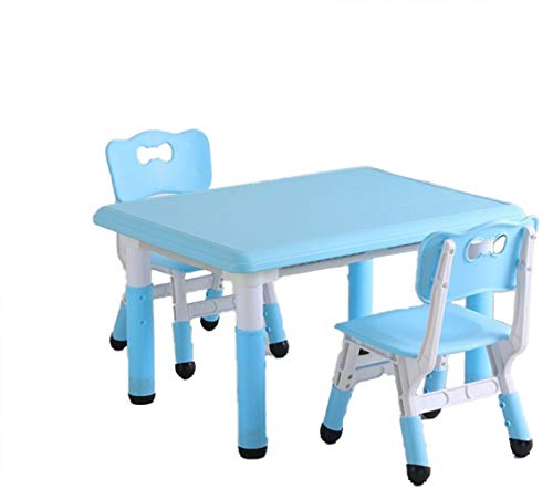 Height Adjustable Kids Study Activity Table and 2 Chairs Set, Toddler Children Art Play Work Station, Chairs with Ergonomic Design, Easy Clean Durable Sturdy Comfortable Plastic Furniture (Blue)