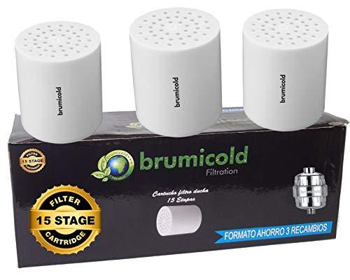 BRUMICOLD SPAIN PACK AHORRO 3 FILTRO DUCHA RECAMBIO cartucho 15 Etapas, compatible con los filtros de 6,8,10,12 Etapas, ideal para piles atópicas, reduce incrustaciones