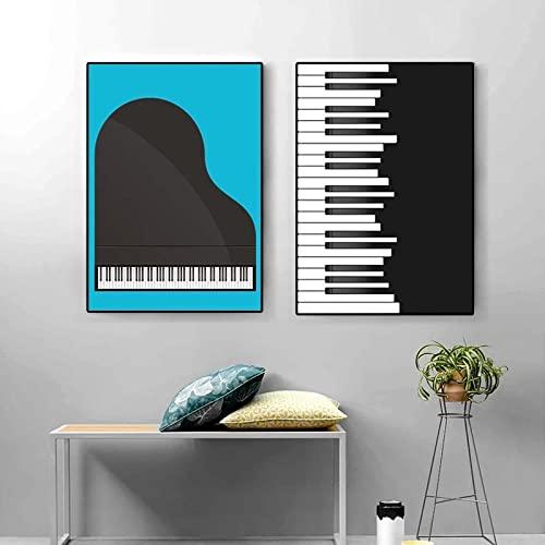 XNHXPH Nero Bianco Pianoforte Spartiti su Tela Pittura Morden Poster Stampa Minimalista Wall Art Nordic Semplice Soggiorno Home Decor Immagini 50x70cmx2 Senza Cornice