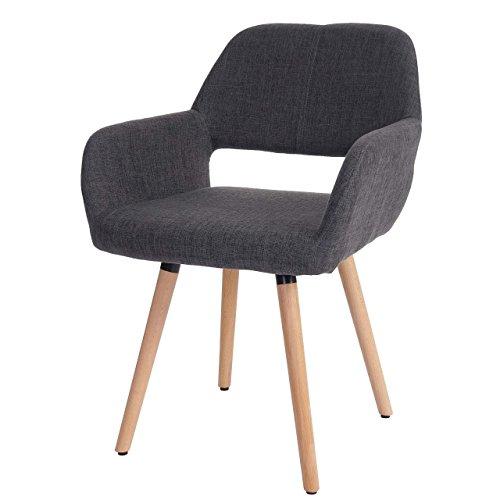 Chaise de Salle à Manger Altena II, Fauteuil, Design rétro des années 50 - Tissu, Gris