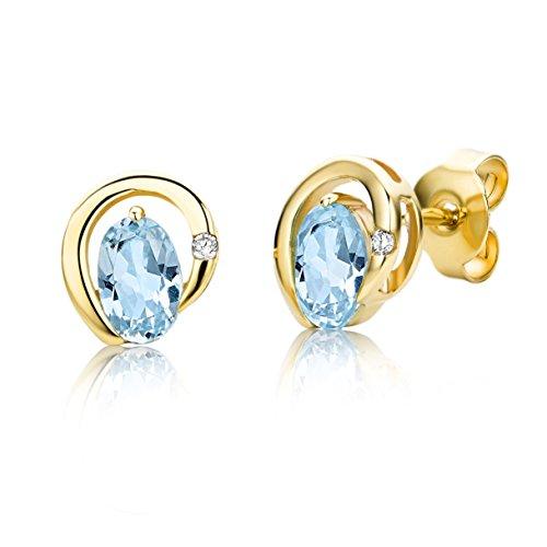 Miore Ohrringe Damen Gelbgold 9 Karat / 375 Gold Ohrstecker Blauer Topas mit Diamant Brillianten