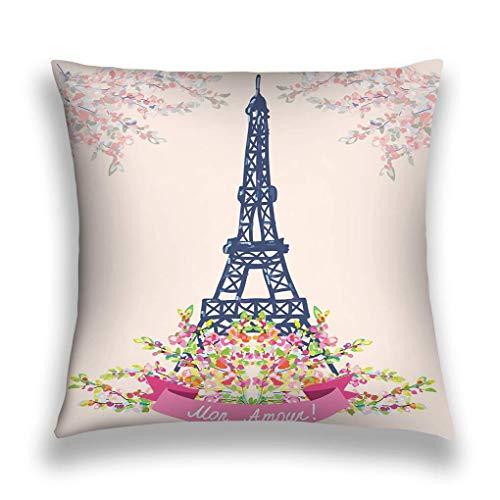 Cotton Velvet Square Throw Pillow Case Decorative Cushion Cover Pillowcase for Sofa Love Paris Nice Card Vintage Floral Design Halftone