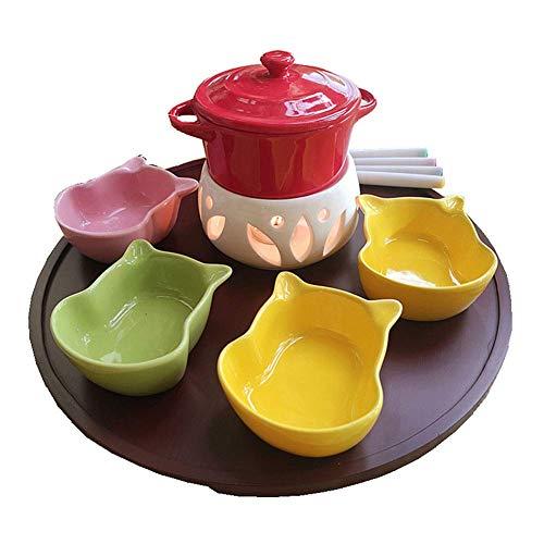 AJH Keramikschmelztiegel mit 4 Gabeln 4 Schalen Käse Schokoladenfondue Schokoladenbrunnen ohne Kerze für Home Kitchen Hotels, Rot