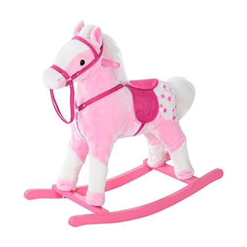 HOMCOM Schaukelpferd Kinder Schaukeltier Plüsch Schaukel Pferd Baby Schaukelspielzeug Geschenk für Kinder (rosa)